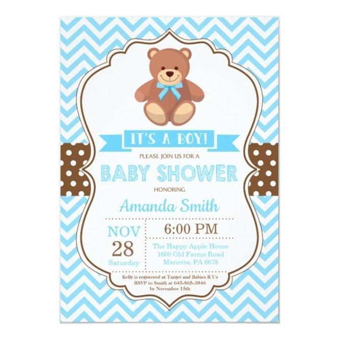 Teddy Bear Boy Baby Shower Blue Chevron