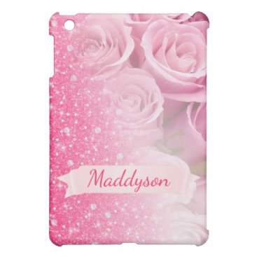 Teen Girls Personalized Sparkly Glitter Rose Case For The iPad Mini