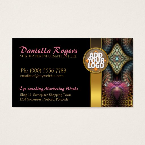 Temple Tapestry Fractals Gold Black Business Cards