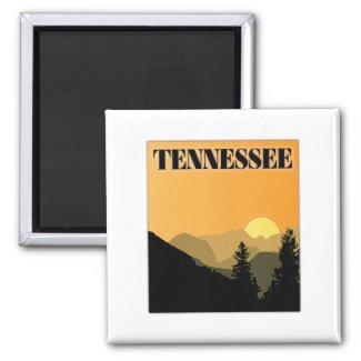 Tennessee Mountains 2 Inch Square Magnet