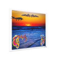 Tequila Sunrise Over Atlantic Big Beach Big Fun Canvas Print