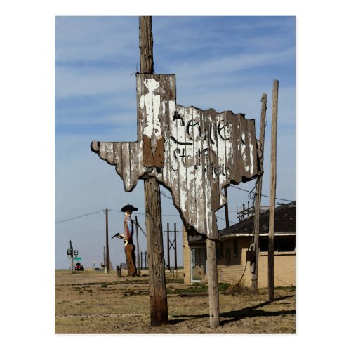 Tex the Cowboy and Texas Sign Postcard