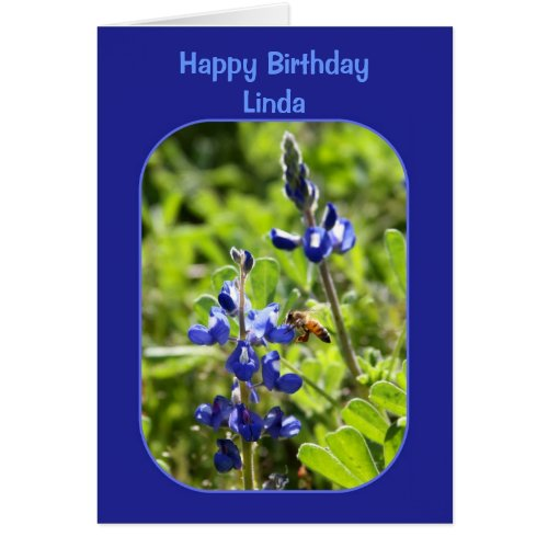Texas Bluebonnets Linda Happy Birthday Blank Card