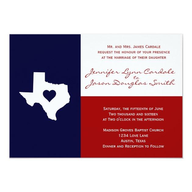 Texas Flag Theme Wedding Invitation Red White Blue