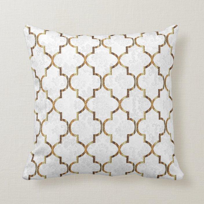 texture white gold quatrefoil pattern throw pillow zazzle com