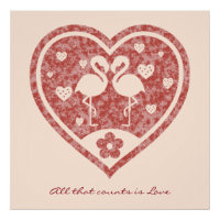 Textured Heart Flamingo Love Poster