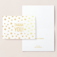Thank You | Animal Paw Prints Gold Foil Card
