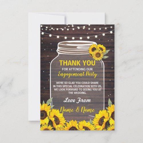 Thank You Card Engagement Wedding Jar Sunflowers