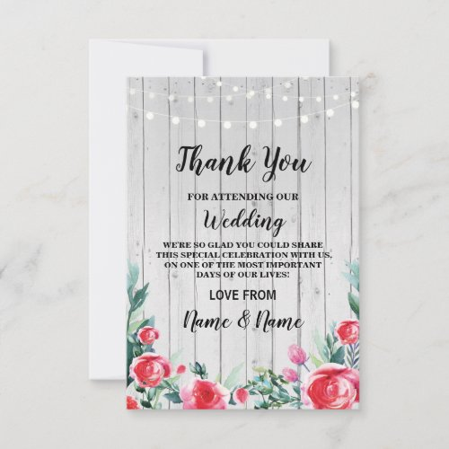 Thank You Card Engagement Wedding Red Roses