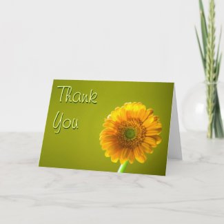 Thank You Card - Yellow Daisy Gerbra Flower card