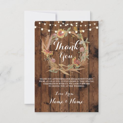 Thank You Cards Fall Wreath Wood Rustic Winter