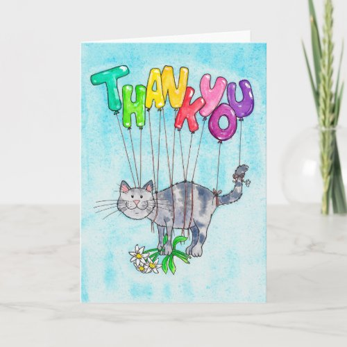 Thank you Cat greeting card by Nicole Janes