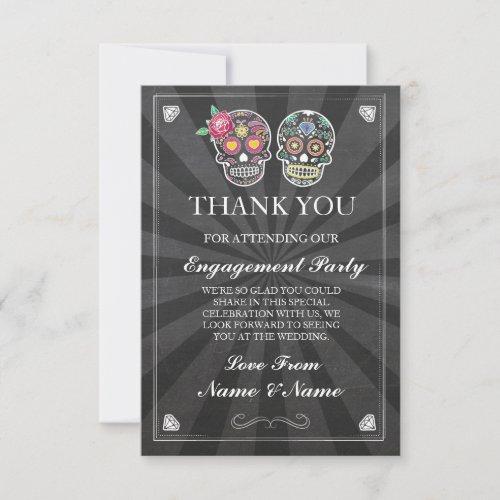 Thank You Chalkboard Rustic Sugar Skull Card