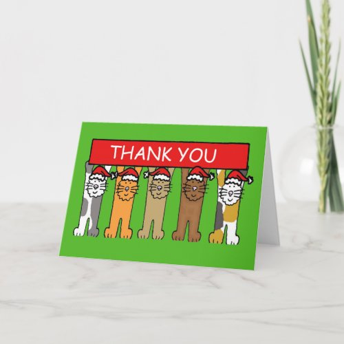 Thank you Christmas Cats in Santa Hats.