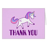 Thank You Cute Girly Pink, Blue, Purple Unicorn Card