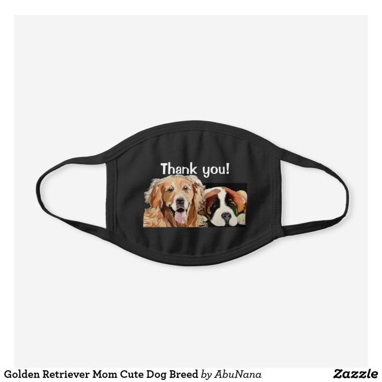 Thank You Dogs Black Cotton Face Mask