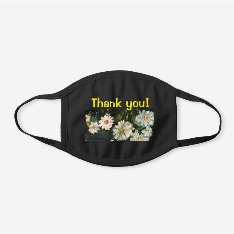 Thank You Field of Daisies Black Cotton Face Mask