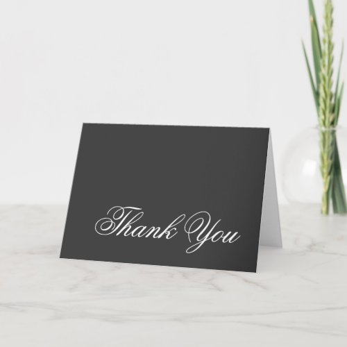 Thank You Gray White Script Greeting Card