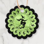 Thank You Halloween Witch Circle Green Grunge Favor Tags