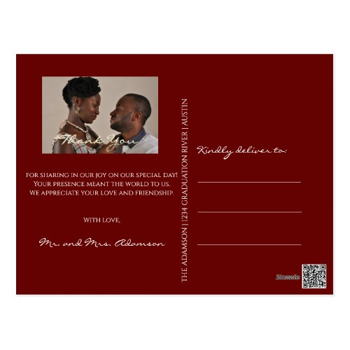 Thank You In Love Wedding Photo Golden Script Maro Postcard