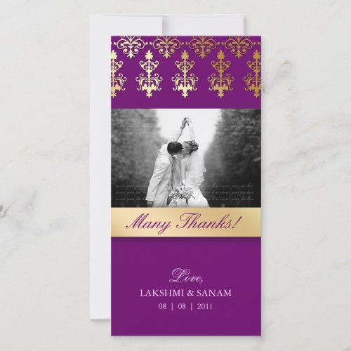 Thank You Photocard Indian Damask Purple