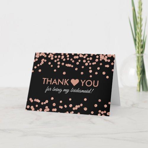 Thank You Rose Gold Glitter Confetti Black