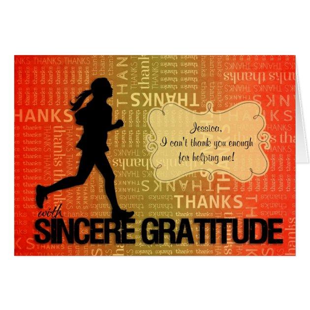 Thank You Running Sports Theme Custom Card Zazzle