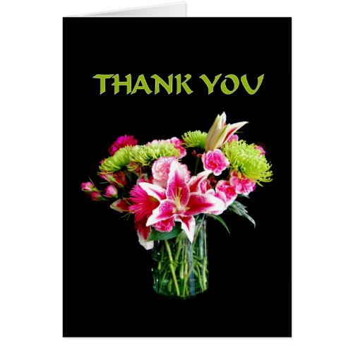 Thank You, Stargazer Lily Bouquet Greeting Card