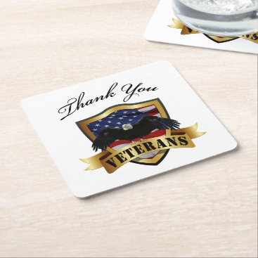 Thank you Veterans - Soldiers silhouette Square Paper Coaster