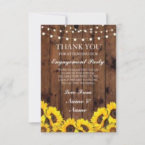 Thank You Wedding Rustic Wood Sunflowers Card