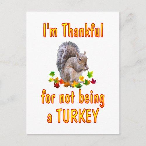 Thankful Squirrel Holiday Postcard