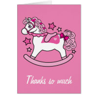 Thanks You Baby Shower Gift Unicorn Pink Curls Card