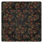 Thanksgiving Autumn Chalkboard Pattern Square Wall Clock