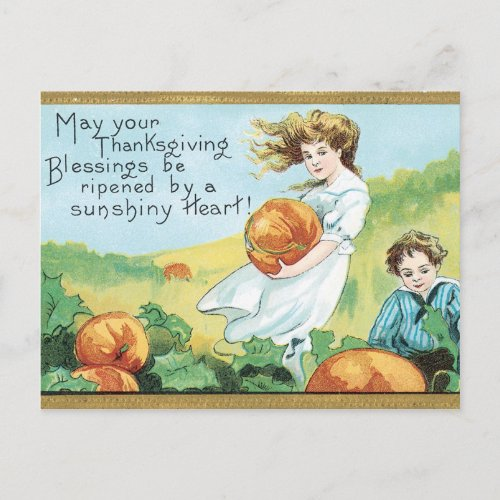 Thanksgiving Blessings Holiday Postcard
