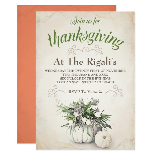 Thanksgiving Family Dinner Invitation