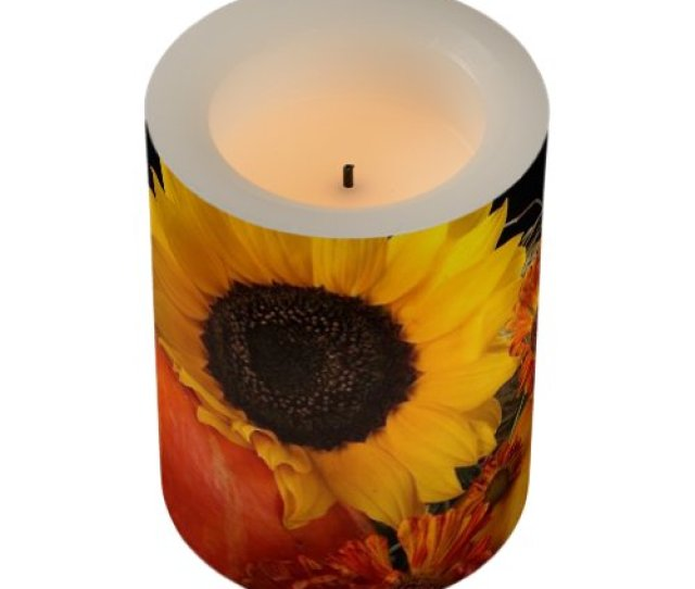 Vintage Sunflower Flameless Candle  C B Thanksgiving Led Candle Sunflower And Pumpkins