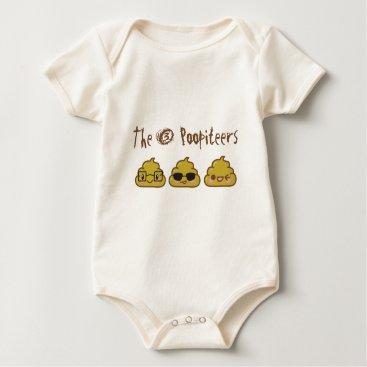 The 3 Poopiteers Baby Bodysuit