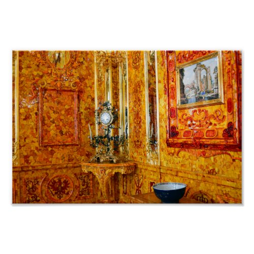 The Amber Room in Catherine Palace, Russia 12x8 Poster