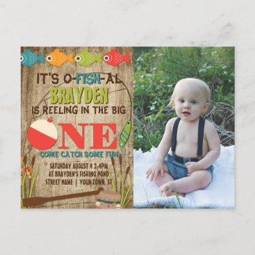 The Big One Fishing Theme Boys First Birthday Invitation Postcard