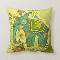 The Blue Elephant Throw Pillow