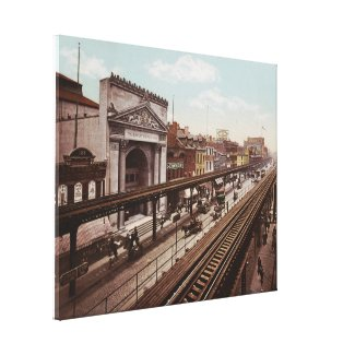 The Bowery New York City Photo-Print (1898) Canvas Print