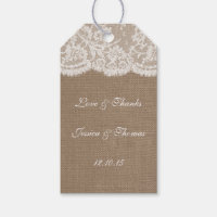 The Burlap & Lace Wedding Collection Tags Pack Of Gift Tags