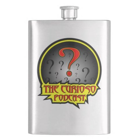The Curioso Podcast logo flask