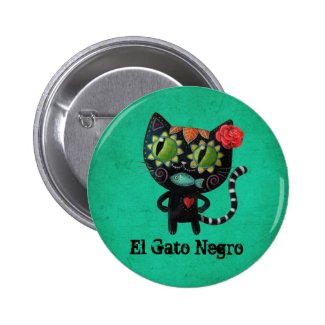 Day of The Dead Black Cat Pin