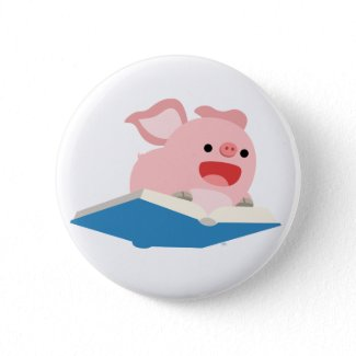 The Flying Book and Cartoon Pig Button Badge button