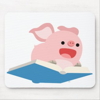 The Flying Book and Cartoon Pig Mousepad mousepad