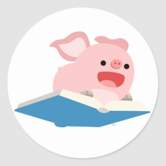 The Flying Book and Cartoon Pig Sticker sticker