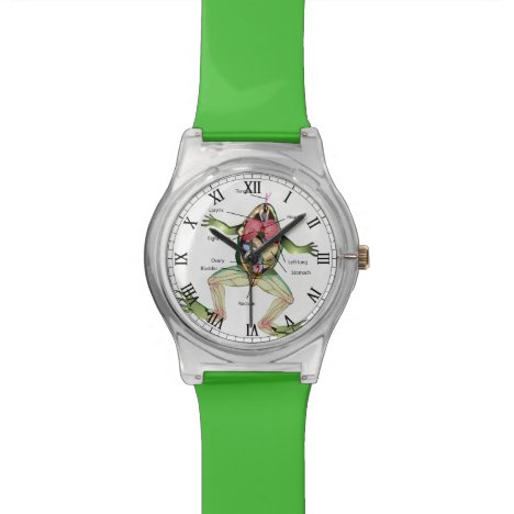 The Frog's Anatomy Illustration Wristwatch