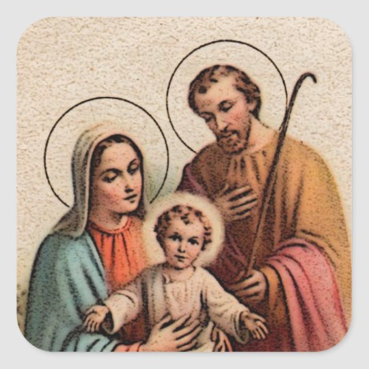 The Holy Family Jesus Mary And Joseph Square Sticker