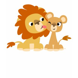 The Kiss: Cute Cartoon Lion Couple Kids T-shirt shirt